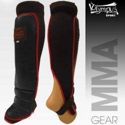 Shin Instep Guard Olympus MMA Leather - Neoprene Pair